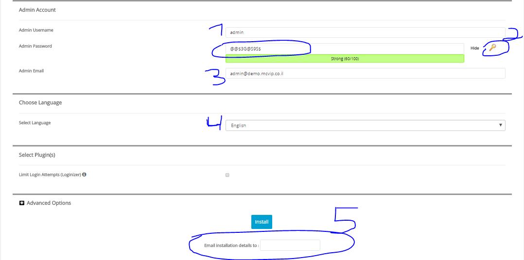admin details