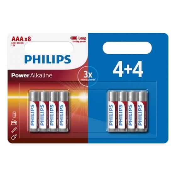 סט 4+4 סוללות Philips AAA
